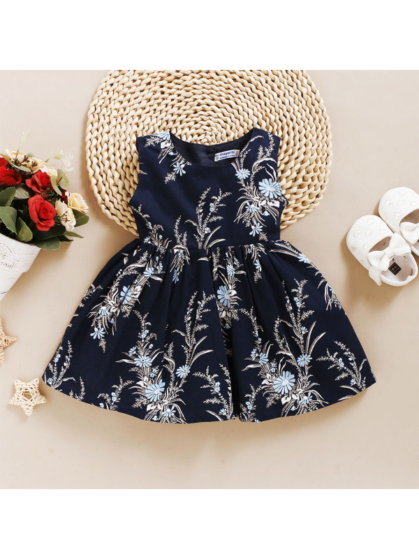 【3M-3Y】Girls Round Neck Sleeveless Dress