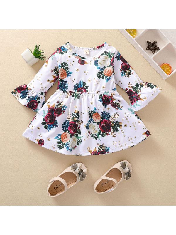 【12M-5Y】Girls Round Neck Flower Print Flared Dress