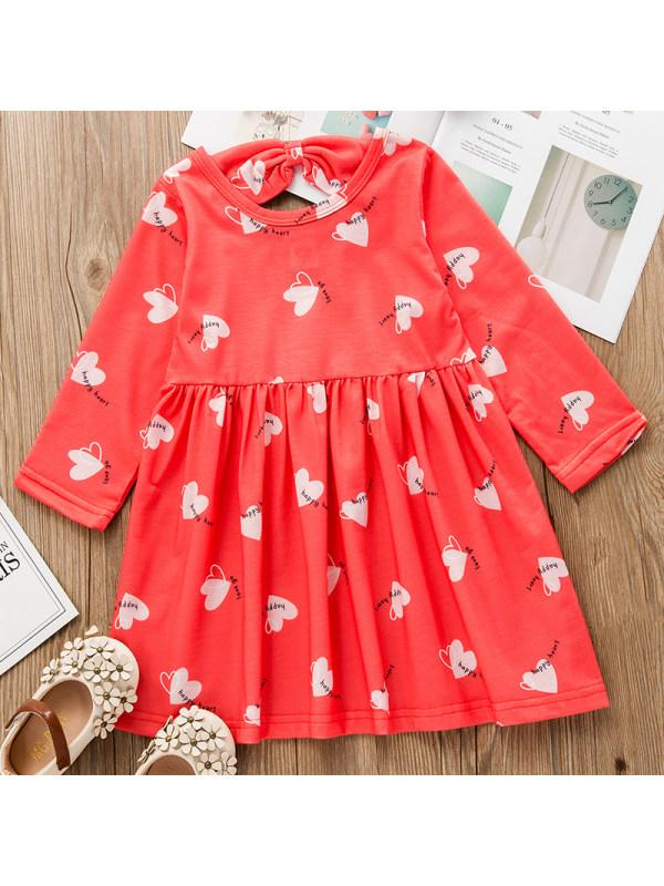 【18M-7Y】Girl Sweet Red Heart Pattern Long Sleeve Dress