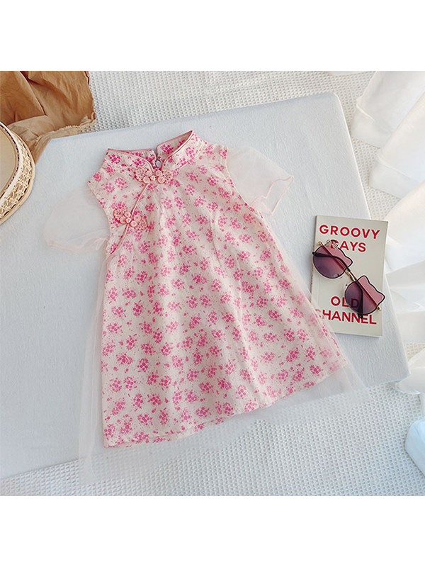 【12M-7Y】Girls Stand Collar Puff Sleeve Lace Cheongsam Dress
