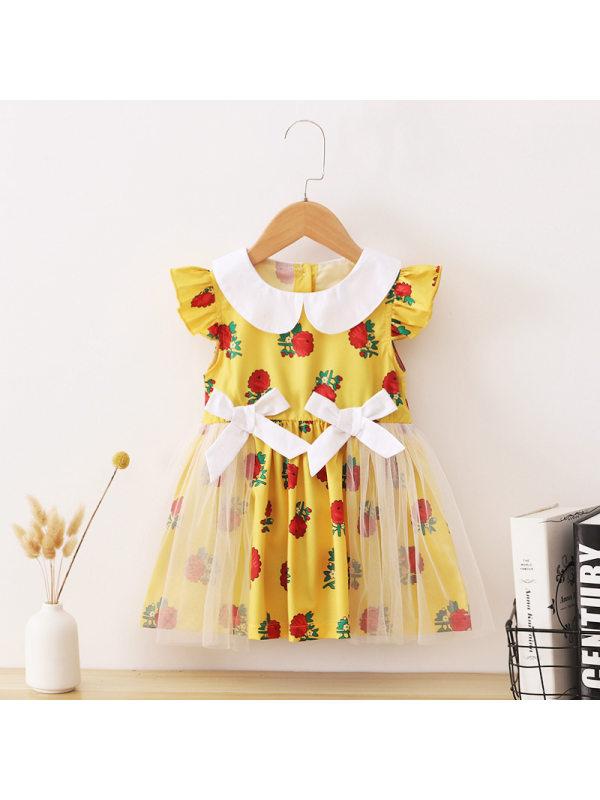 【18M-7Y】Girls Printed Doll Collar Short-Sleeved Stitching Mesh Dress