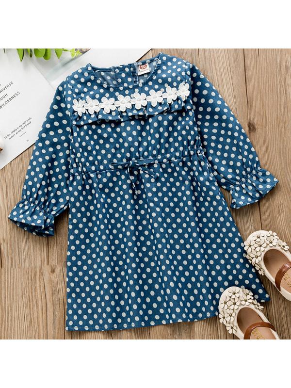 【18M-7Y】Girls Sweet Polka Dot Denim Long-sleeved Dress