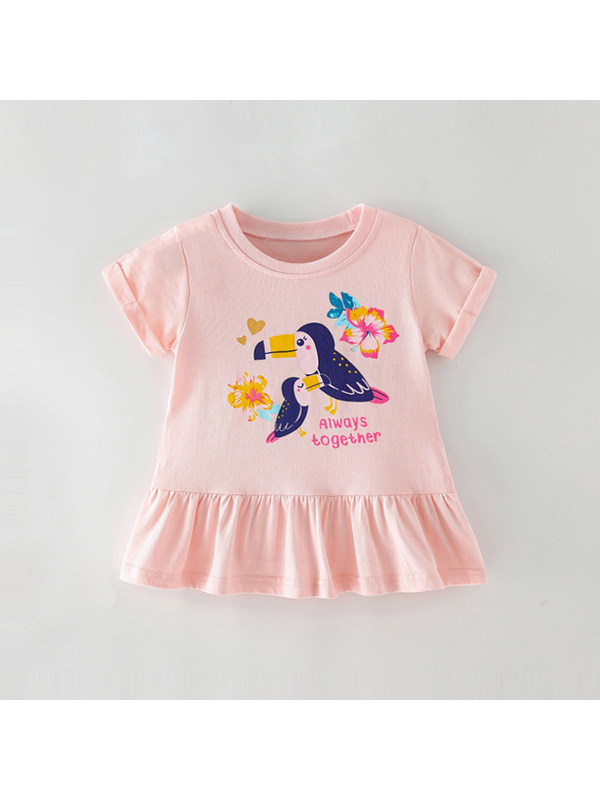 【18M-9Y】Girls Short Sleeve Cartoon Print T-shirt