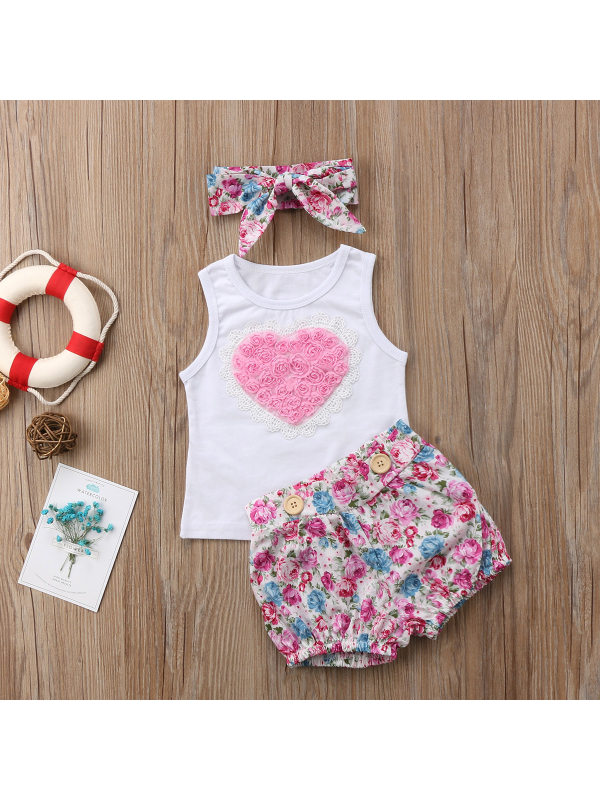 【3M-3Y】Girls Love Flower Stitching Vest and Floral Shorts Suit