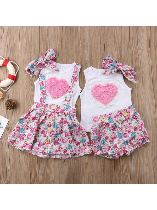【12M-5Y】Girls Love Floral Stitching Vest Floral Sling Skirt Hair Accessories Set