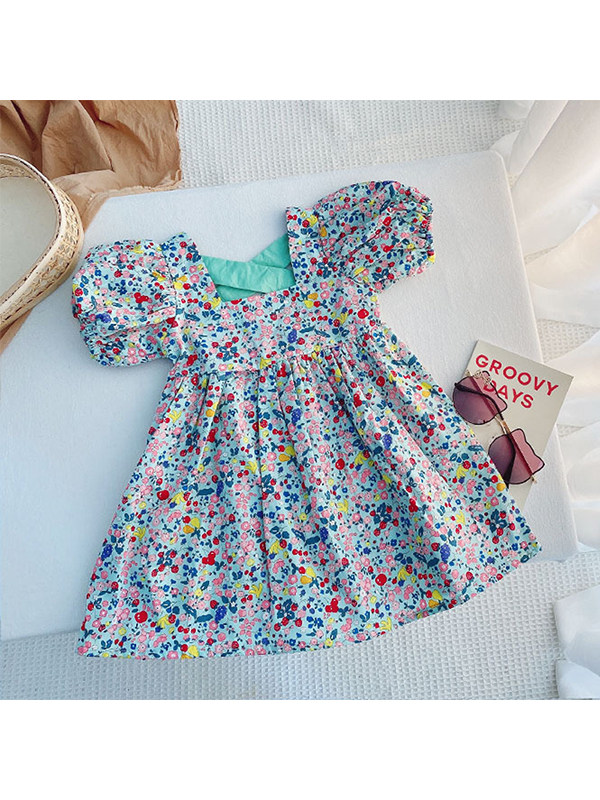 【12M-7Y】Girls Square Neck Puff Sleeve Floral Dress