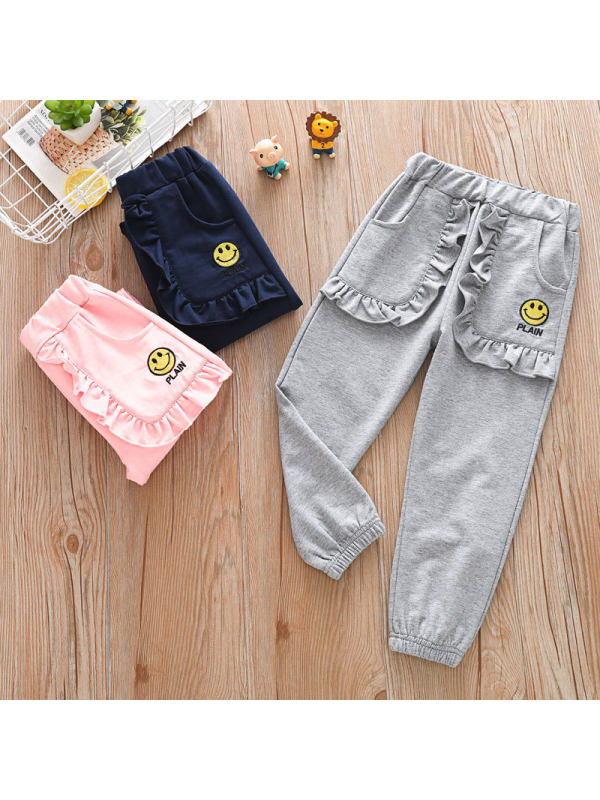 【18M-7Y】Girls Embroidered Casual Sports Trousers