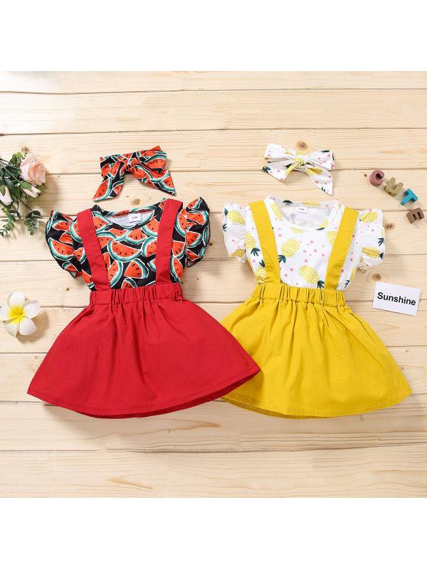 【12M-4Y】Girls Flying Sleeves Cartoon Print Vest Solid Color Suspender Dress Three-piece Suit