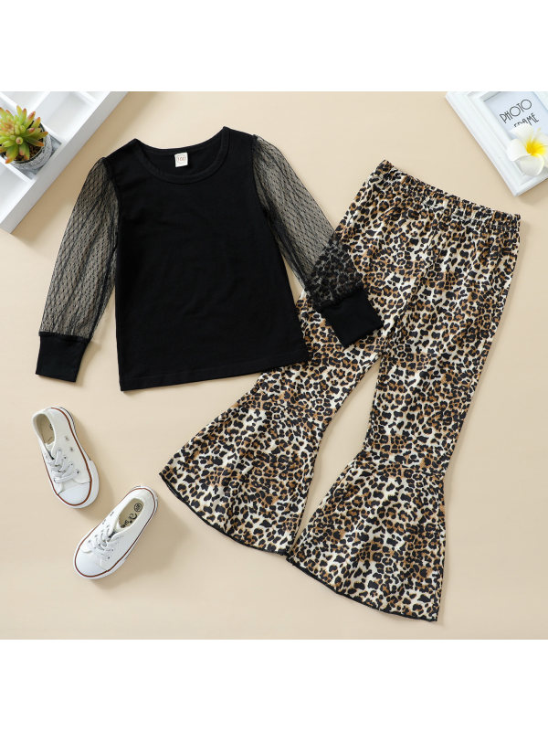 【18M-7Y】Girls Mesh Sleeve Top and Leopard Trousers Set