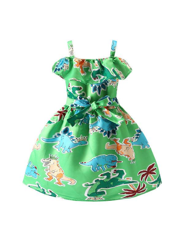 【18M-7Y】Little Girl Dinosaur Print Off-shoulder Suspender Princess Dress