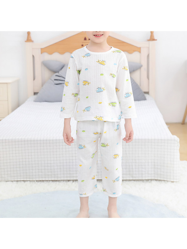 【2Y-13Y】Boy's 9-point Sleeve Summer Thin Pajama Suit Home Service Basic