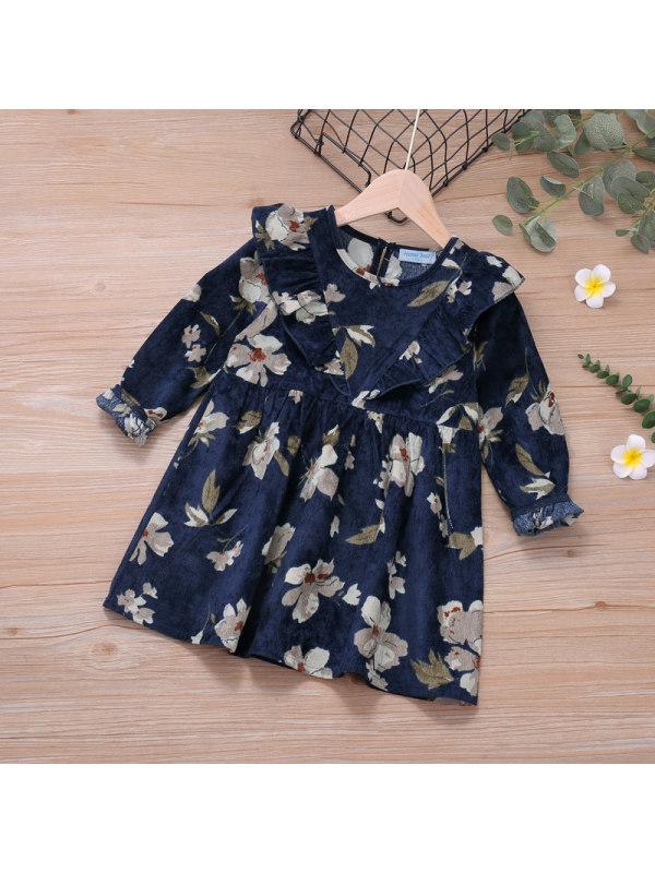 【18M-7Y】Girls Print Long-Sleeved Dress