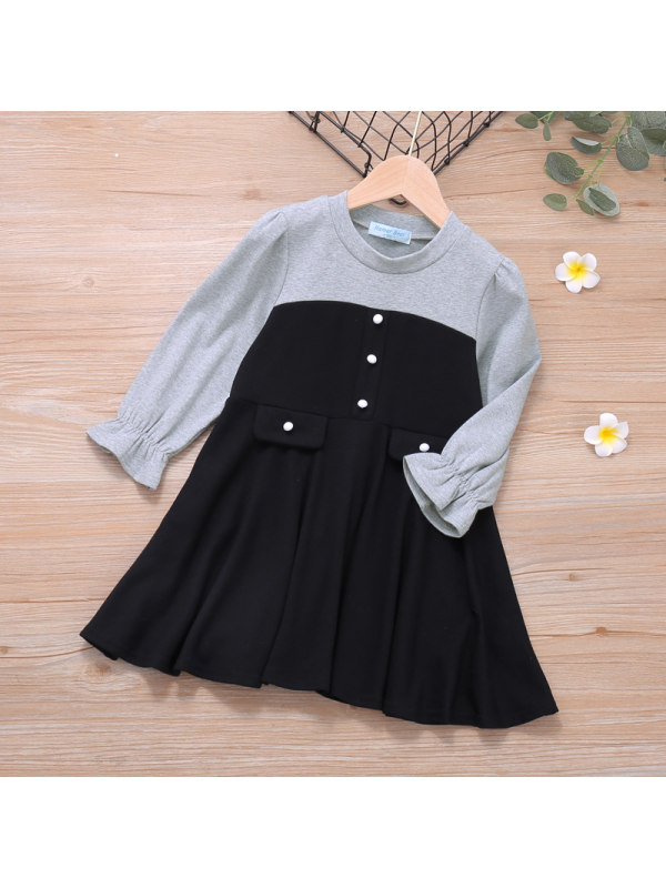 【18M-7Y】Girls Contrast Color Stitching Long-Sleeved Dress