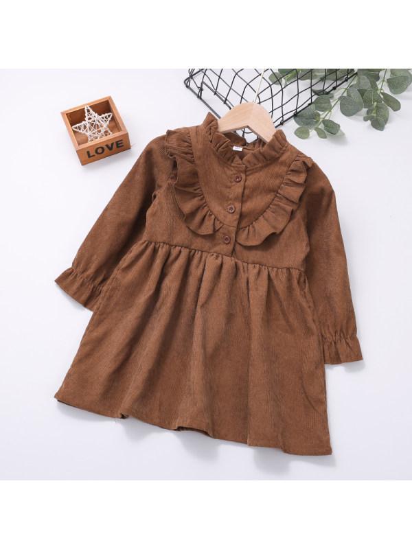 【18M-7Y】Girls Corduroy Long Sleeve Dress