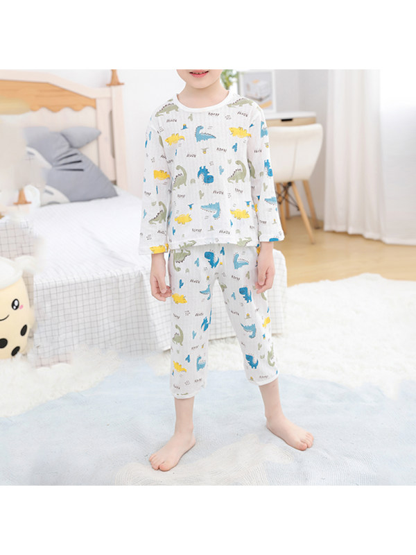 【2Y-11Y】Boy's 9-point Sleeve Summer Thin Pajama Suit Home Service Basic