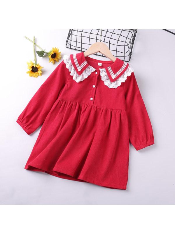 【18M-7Y】Girls Lapel Collar Contrast Stitching Long Sleeve Dress