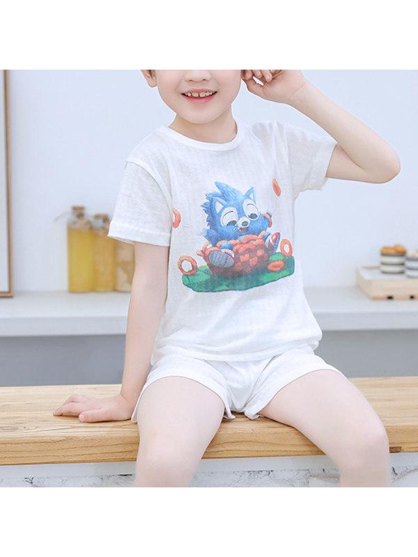 【2Y-11Y】Boys Short-sleeved Sleeve Summer Thin Pajama Suit Home Service
