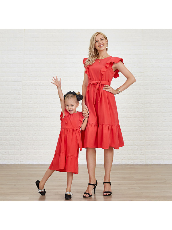 Cotton Solid Color Midi Mom Girl Matching Dress - 1362