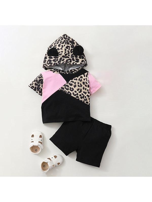 【6M-2.5Y】Girls Leopard Print Short Sleeve Stitching Hooded Top Shorts Set