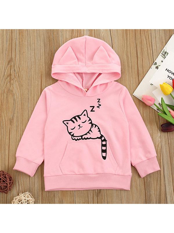 【18M-7Y】Girl Cat Cartoon Print Hooded Sweatshirt