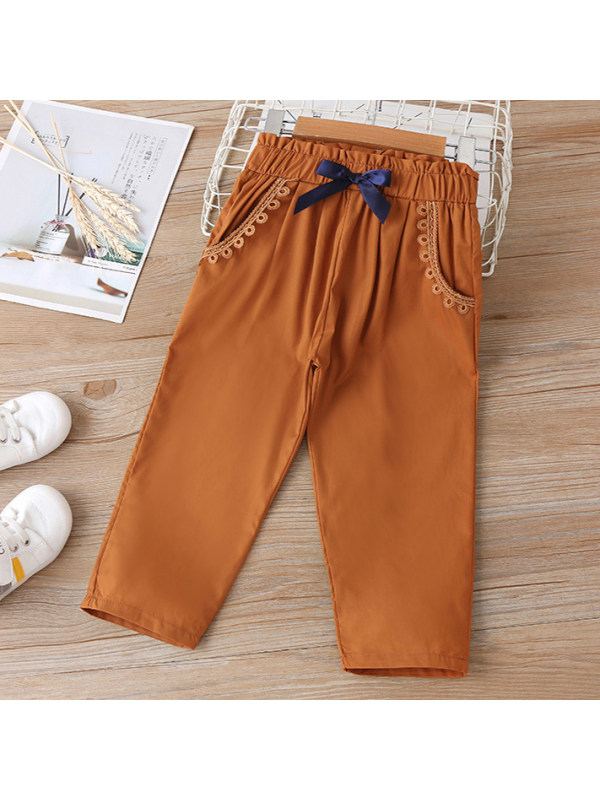 【18M-7Y】 Girl Sweet Lace and Bow Brown Pants