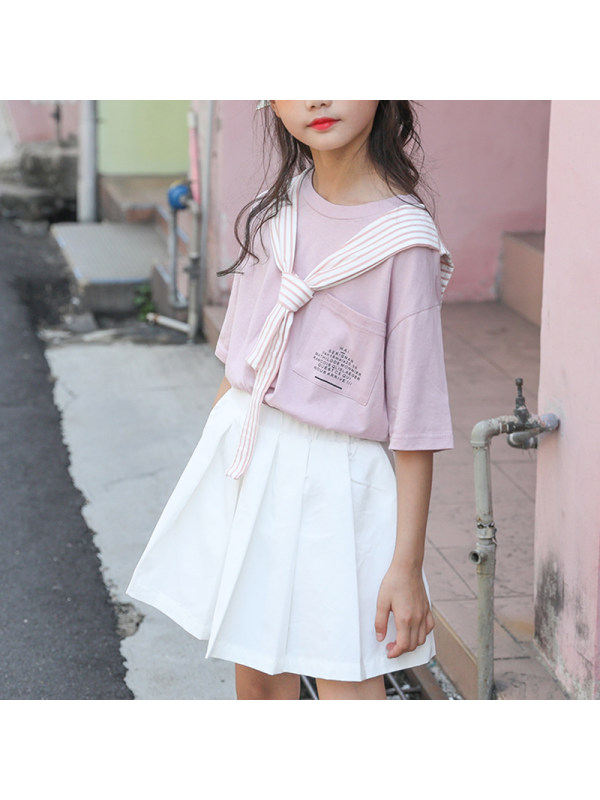 【4Y-15Y】Girls' College Style Round Neck Shawl Top With Pleated Skirt Suit