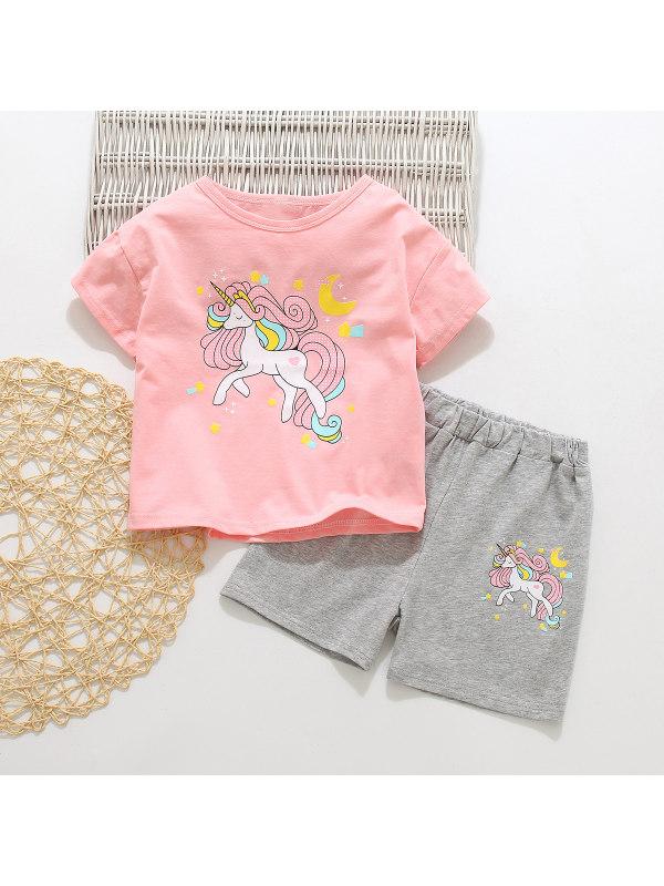 【18M-7Y】Girls Cartoon Alphabet Pullover Short Sleeve Shorts Suit