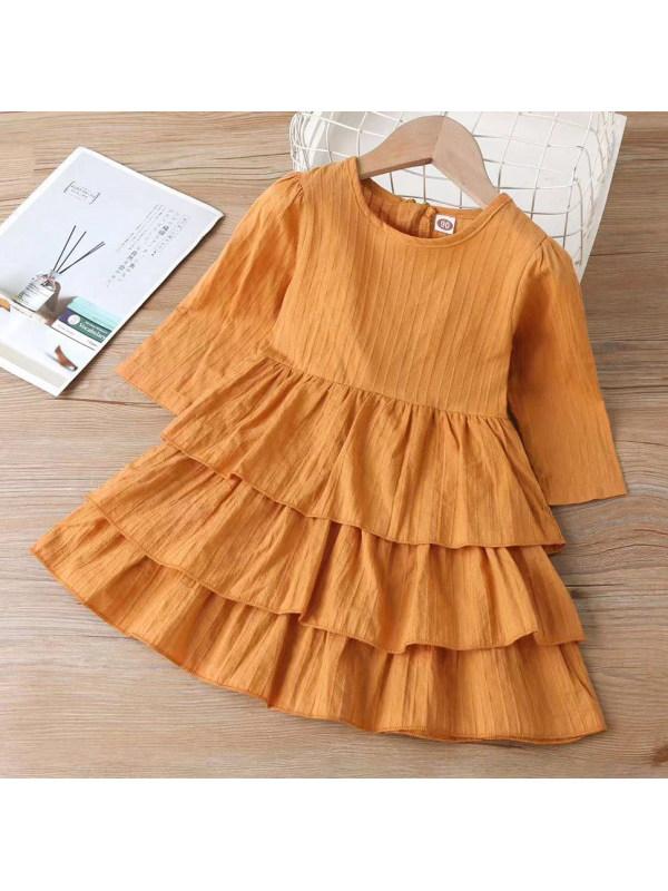 【18M-7Y】 Girl Sweet Brown Multi-layer Skirt Long Sleeve Dress