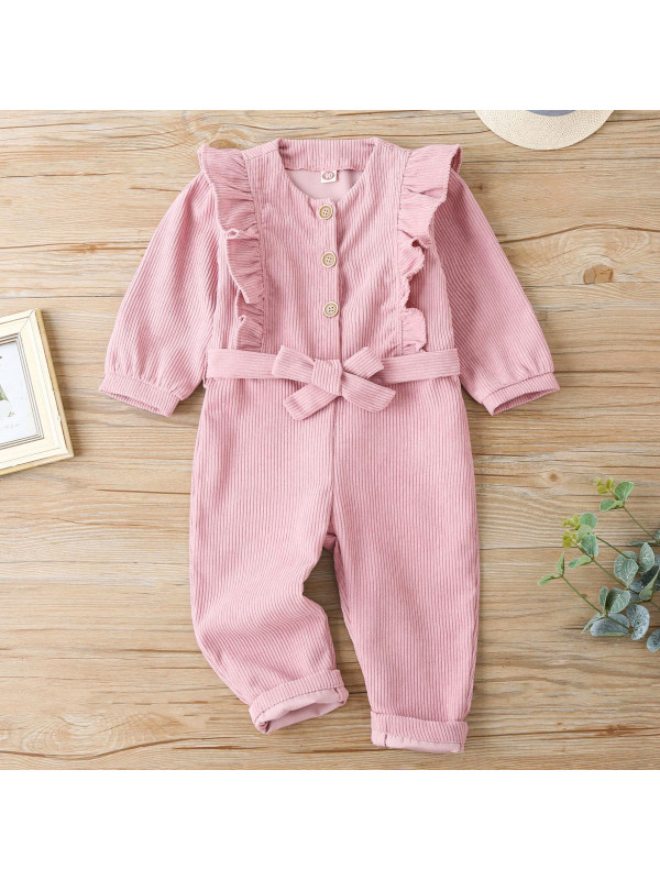 【18M-7Y】  Sweet Corduroy Pink Jumpsuit