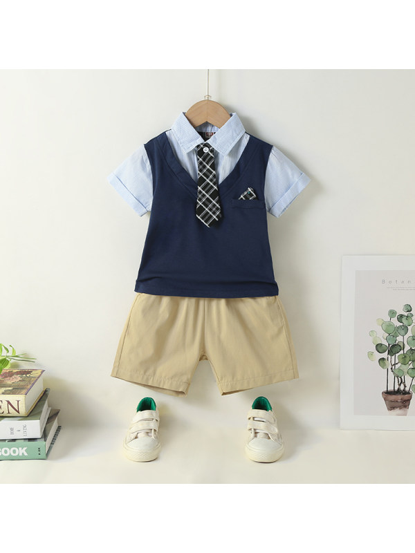 【18M-7Y】Male College Style Fake Two-piece Tie Top And Shorts Suit