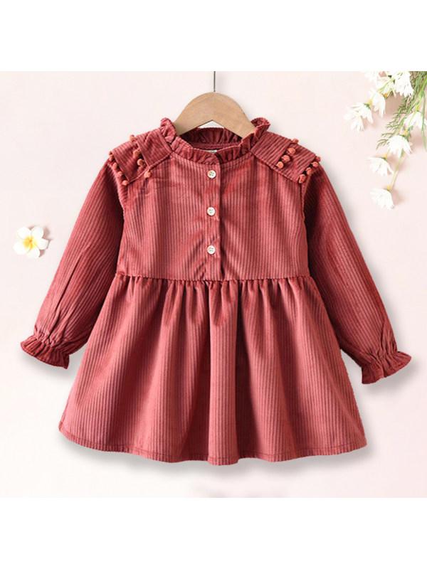 【2Y-9Y】  Sweet Corduroy Long Sleeve Dress