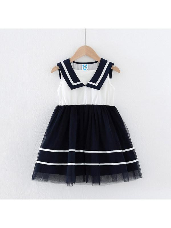 【18M-7Y】Girls Navy Collar College Wind Mesh Dress