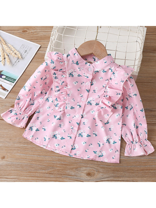 【18M-7Y】 Girl Sweet Flower Pink Long Sleeve Shirt