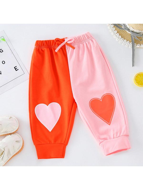 【18M-7Y】 Girl Sweet Heart Shape Print Pink Pants