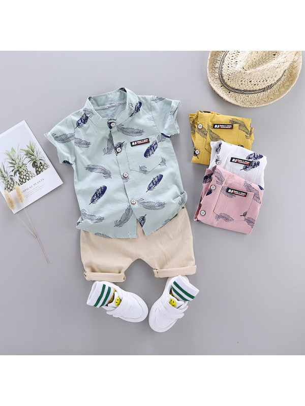 【6M-4Y】 Boys Feather Short-Sleeved Suit