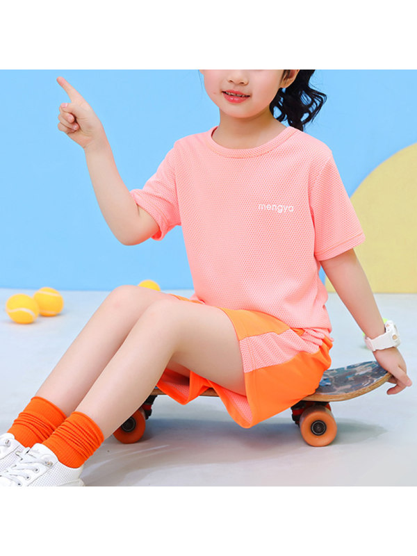 【2Y-11Y】Girls Summer Candy Color Round Neck Short-sleeved Sports Casual Suit Quick-drying Clothes