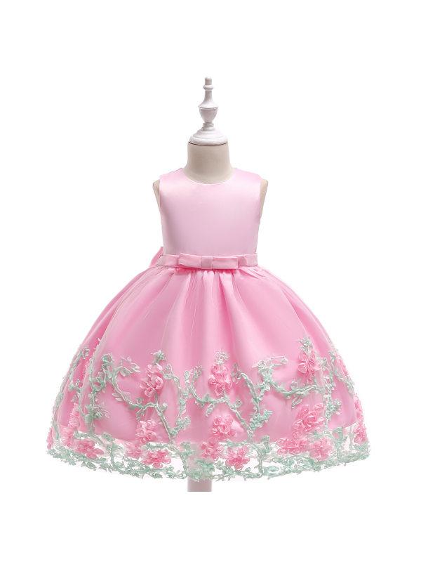 【2Y-11Y】Girls Child Dress Three-dimensional Flower Princess Dress