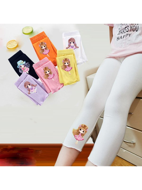 【2Y-13Y】Girls Spring And Autumn Modal Cartoon Princess Leggings 5 Colors Optional 9 Points Pants