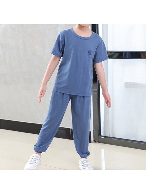 【2Y-11Y】Boys Autumn New Solid Color Casual Home Wear Round Neck Short Sleeve Suit