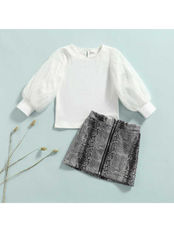 【18M-7Y】Girls College Style Long-Sleeved Blouse Zipper Skirt Suit