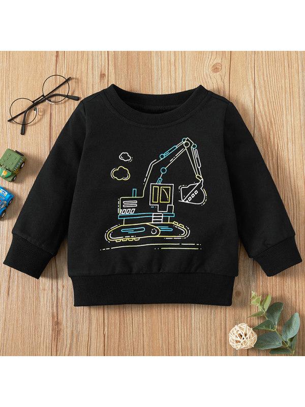 【6M-2.5Y】Baby Boy Casual Black Long-sleeved Hooded Sweatshirt