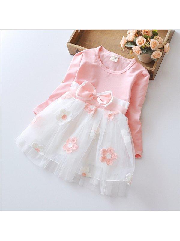 【12M-5Y】Girls Net Yarn Long Sleeve Dress