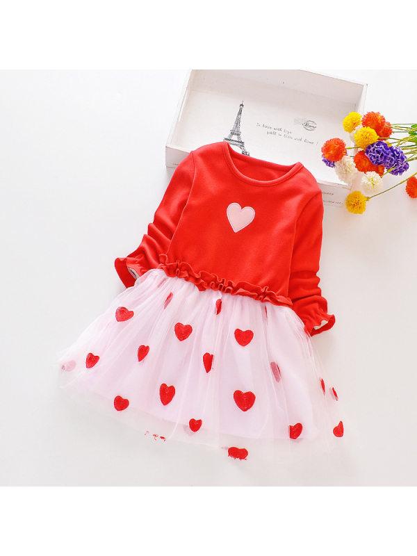 【18M-11Y】Girls Long Sleeve Net Yarn Stitching Love Dress