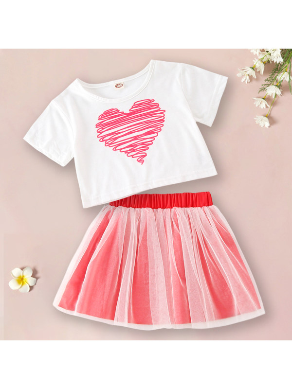 【18M-7Y】Sweet Heart Shaped Printed T-shirt And Red Skirt Set