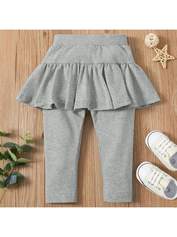 【6M-2.5Y】Baby Girl Sweet Gray Fake Two-piece Leggings
