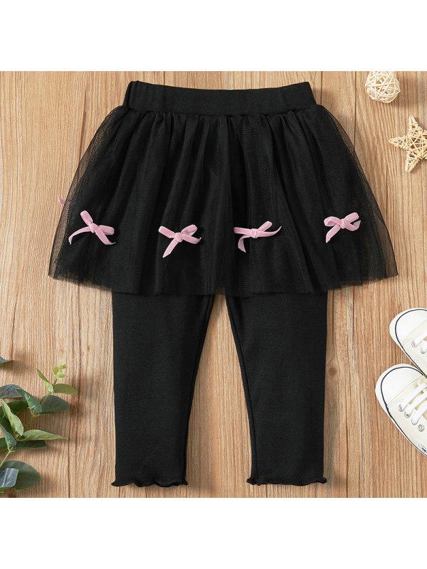 【6M-2.5Y】Baby Girl Sweet Black Fake Two-piece Leggings