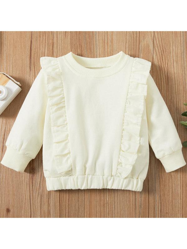 【6M-2.5Y】Baby Girl Sweet White Long Sleeve Sweatshirt