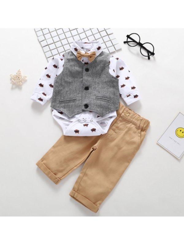 【6M-2.5Y】Boys Vest Romper And Pants Three-piece Suit