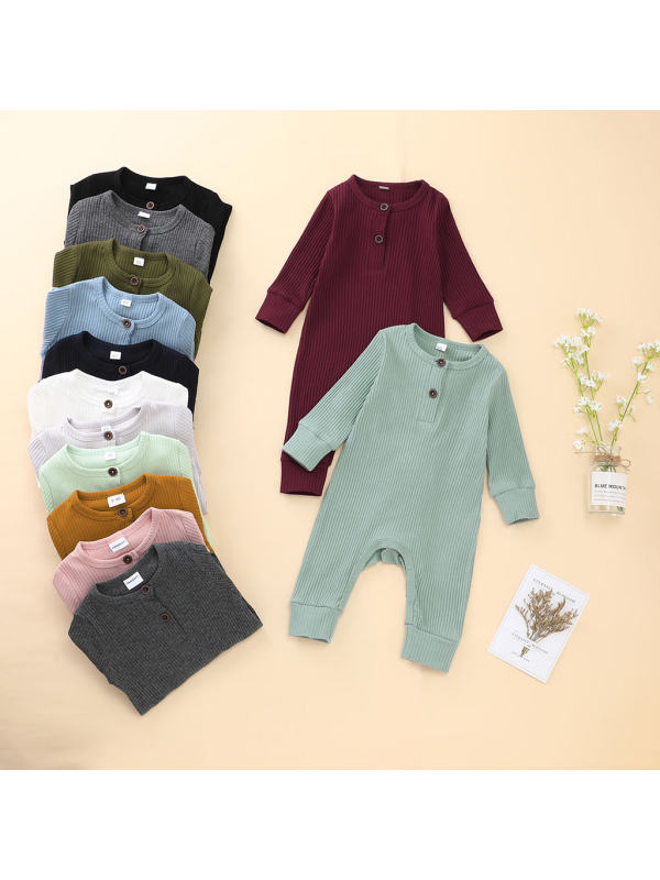 【3M-3Y】Baby Multicolor Long-Sleeved Pit Strip One-Piece Romper