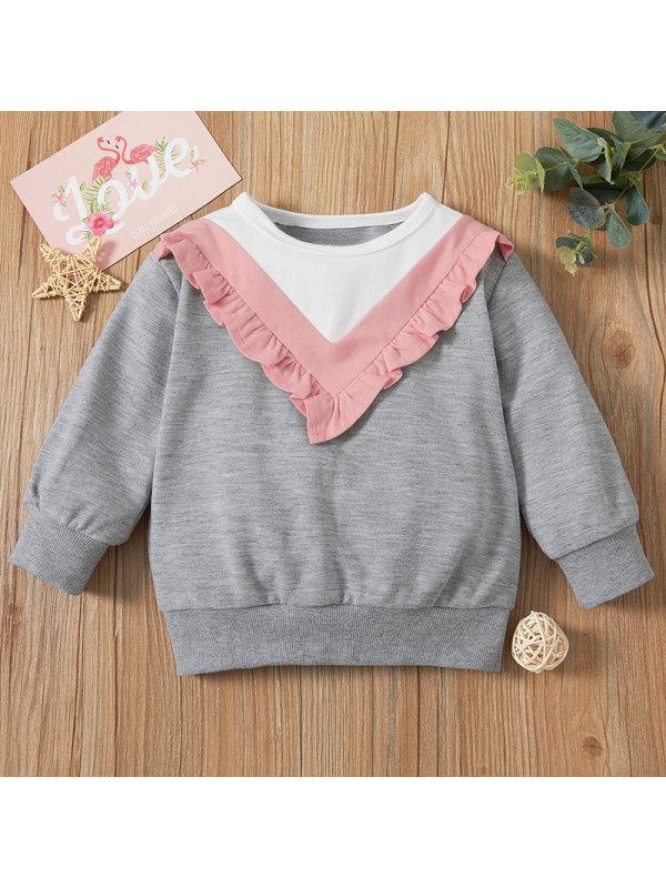 【6M-2.5Y】Baby Girl Sweet Grey Long Sleeve Sweatshirt